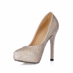 Women's Sparkling Glitter Stiletto Heel Closed Toe Platform Pumps