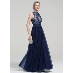 A-Line/Princess High Neck Floor-Length Tulle Evening Dress With Beading Sequins