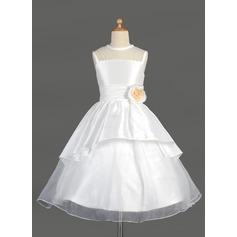 A-Line/Princess Tea-length Flower Girl Dress - Taffeta/Organza Sleeveless Scoop Neck With Lace/Flower(s)