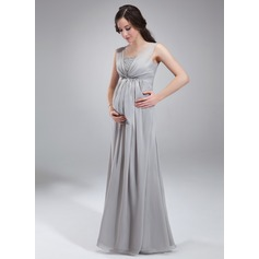 Empire Square Neckline Floor-Length Chiffon Chiffon Maternity Bridesmaid Dress With Ruffle Beading Sequins (045004412)