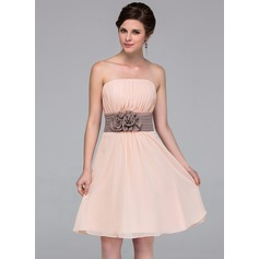 A-Line/Princess Strapless Knee-Length Chiffon Bridesmaid Dress With Sash Flower(s)
