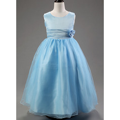 Ball Gown Floor-length Flower Girl Dress - Cotton Blends Sleeveless Scoop Neck With Flower(s)