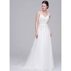 A-Line/Princess Sweetheart Sweep Train Tulle Wedding Dress With Beading Appliques Lace Sequins