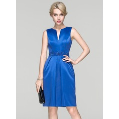 Sheath/Column Knee-Length Satin Cocktail Dress With Ruffle Beading Sequins