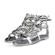 Patent Leather Flat Heel Sandals With Buckle shoes