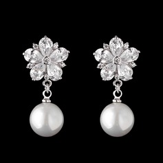 Gorgeous Pearl/Zircon Ladies' Earrings