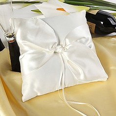 Simple Ring Pillow in Satin With Knot