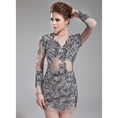 Sheath/Column Scoop Neck Short/Mini Tulle Cocktail Dress With Beading Appliques Lace Sequins