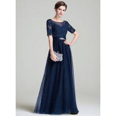 A-Line/Princess Scoop Neck Floor-Length Tulle Mother of the Bride Dress With Ruffle Beading Appliques Lace Sequins