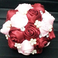 Lovely Round Satin Bridal Bouquets