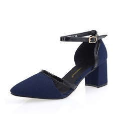 Leatherette Chunky Heel Pumps Closed Toe With Buckle shoes