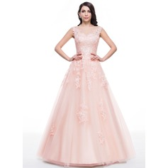 Ball-Gown Scoop Neck Floor-Length Tulle Prom Dress With Beading Appliques Lace Sequins (018059416)