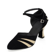 Women's Sparkling Glitter Suede Heels Pumps Modern With Ankle Strap Dance Shoes