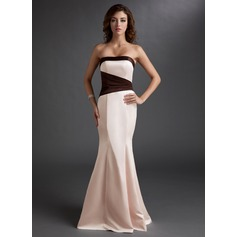 Trumpet/Mermaid Strapless Floor-Length Satin Bridesmaid Dress With Ruffle Sash
