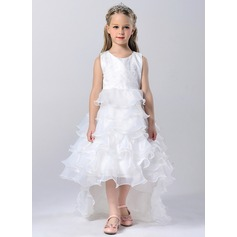 A-Line/Princess Asymmetrical/Court Train Flower Girl Dress - Tulle/Polyester Sleeveless Scoop Neck With Sash