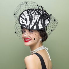 Ladies' Vintage Fabric With Tulle Fascinators