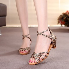 Women's Kids' Satin Heels Sandals Latin With Ankle Strap Dance Shoes