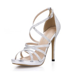 Women's Sparkling Glitter Stiletto Heel Sandals Peep Toe shoes (087072640)