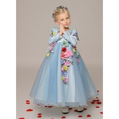 A-Line/Princess Ankle-length Flower Girl Dress - Organza Long Sleeves V-neck With Flower(s)