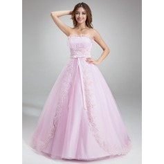 Ball-Gown Scalloped Neck Chapel Train Tulle Quinceanera Dress With Ruffle Beading Appliques Lace