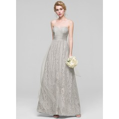 A-Line/Princess Sweetheart Floor-Length Tulle Bridesmaid Dress With Ruffle Bow(s)