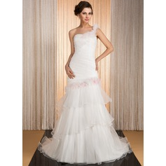 Trumpet/Mermaid One-Shoulder Court Train Organza Wedding Dress With Flower(s) Cascading Ruffles