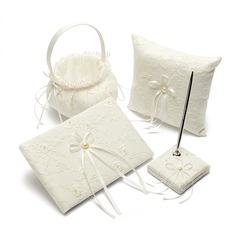 Collection Set in Satin With Embroidery/Faux Pearl (100017982)