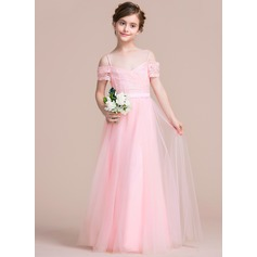 A-Line/Princess Off-the-Shoulder Floor-Length Tulle Junior Bridesmaid Dress