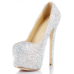 Patent Leather Stiletto Heel Pumps Platform Closed Toe With Rhinestone shoes (085026494)