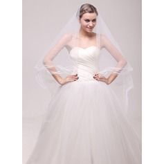 One-tier Pencil Edge Cathedral Bridal Veils With Beading