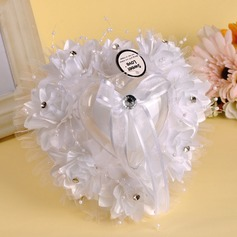 Heart Shaped/Lovely Ring Pillow in Cloth With Ribbons/Beading