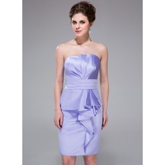 Sheath/Column Scalloped Neck Knee-Length Satin Bridesmaid Dress With Cascading Ruffles