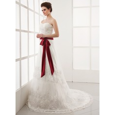A-Line/Princess Sweetheart Chapel Train Tulle Wedding Dress With Ruffle Lace Sash Bow(s)