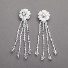 Flower Shaped Crystal/Lace Ladies' Earrings