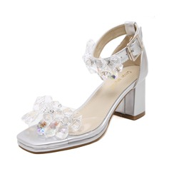 Women's PVC Chunky Heel Sandals Peep Toe With Rhinestone shoes