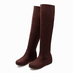 Women's Suede Flat Heel Over The Knee Boots shoes