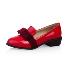 Women's Patent Leather Low Heel Pumps Closed Toe shoes