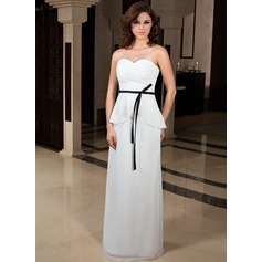 Sheath/Column Sweetheart Floor-Length Chiffon Evening Dress With Sash Cascading Ruffles