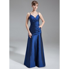 A-Line/Princess V-neck Floor-Length Taffeta Bridesmaid Dress With Ruffle
