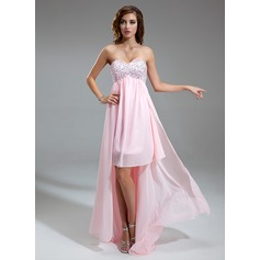 Empire Sweetheart Asymmetrical Chiffon Homecoming Dress With Ruffle Beading Sequins
