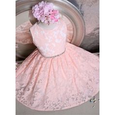 A-Line/Princess Short/Mini Flower Girl Dress - Lace Sleeveless Scoop Neck With Bow(s)/Rhinestone