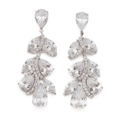 Leaves Shaped Zircon Ladies' Earrings