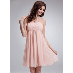 Empire Scoop Neck Knee-Length Chiffon Homecoming Dress With Ruffle Lace Beading