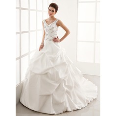 Ball-Gown V-neck Cathedral Train Taffeta Wedding Dress With Ruffle Beading