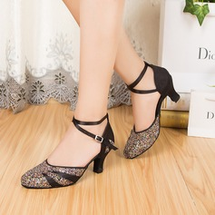 Women's Satin Sparkling Glitter Heels Pumps Modern With Ankle Strap Dance Shoes