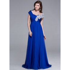 A-Line/Princess Off-the-Shoulder Sweep Train Chiffon Evening Dress With Beading Appliques Lace