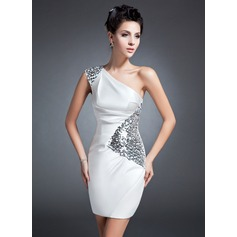 Sheath/Column One-Shoulder Short/Mini Charmeuse Mother of the Bride Dress With Ruffle Sequins