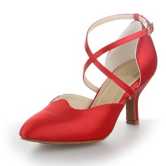 Women's Satin Heels Pumps Modern With Ankle Strap Dance Shoes
