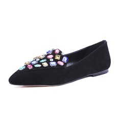 Women's Suede Flat Heel Flats Closed Toe With Rhinestone shoes (086086134)
