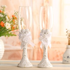 Beautiful Toasting Flutes With Flowers (Set Of 2) (126075319)